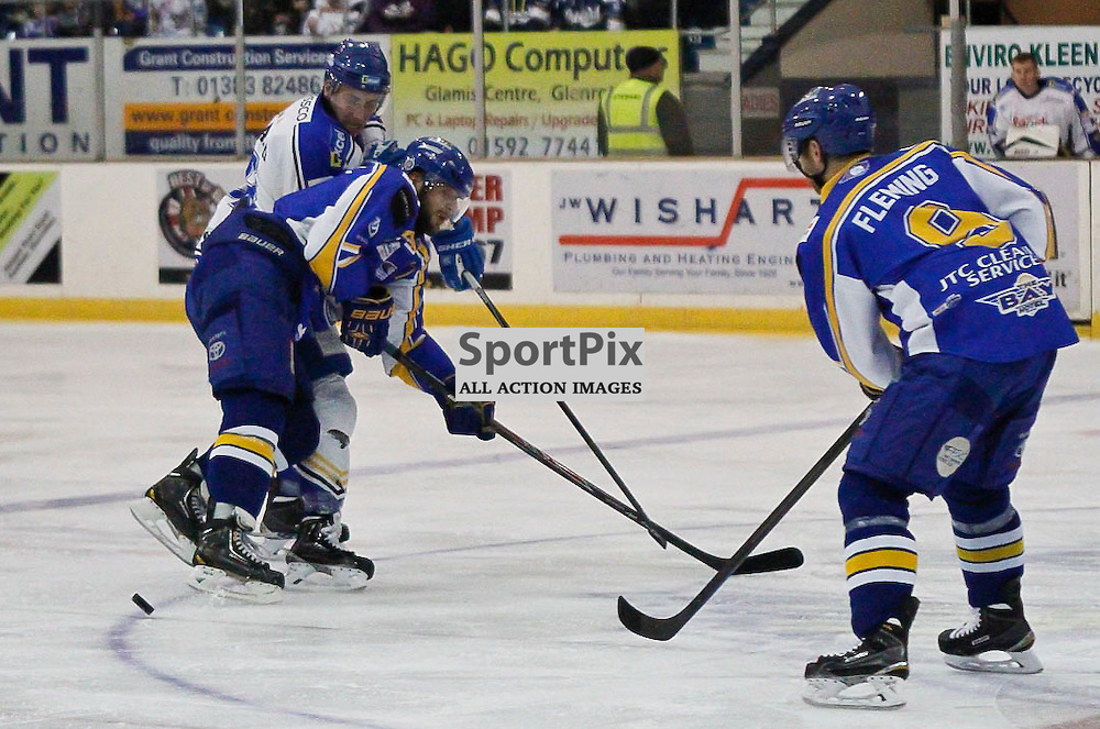 Fife Flyers V Hull Stingrays, Elite Ice Hockey League, 17 January 2015Fife Flyers V Hull Stingrays, Elite Ice Hockey League, 17 January 2015 Fife Flyers Forward #8 Ned Lukacevic fends off an attack from Hull Stingrays Forward #88 Eric Galbraith