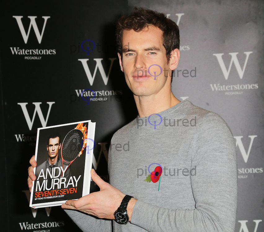 Andy Murray, Seventy-Seven: My Road To Wimbledon Glory - book signing, Waterstones Piccadilly, London UK, 06 November 2013, Photo by Richard Goldschmidt