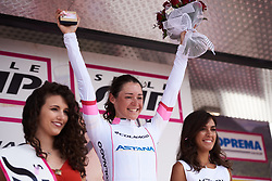 Sofia Bertizzolo (ITA) retains her lead in the youth classification at Giro Rosa 2018 - Stage 9, a 104.7 km road race from Tricesimo to Monte Zoncolan, Italy on July 14, 2018. Photo by Sean Robinson/velofocus.com