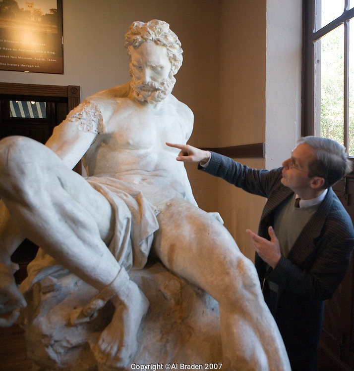Professor Louis Waldman of University of Texas discusses Prometheus Bound Sculpture at Elizabet Ney Museum, Austin, Texas.