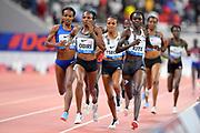 Hellen Obiri (KEN) defeats Genzebe Dibaba (ETH) and  Gloria Kite  (KEN) to win the women's 3,000m, 8:25.60 during the IAAF Doha Diamond League 2019 at Khalifa International Stadium, Friday, May 3, 2019, in Doha, Qatar (Jiro Mochizuki/Image of Sport)