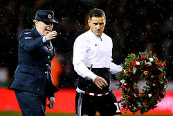 Billy Sharp of Sheffield United lays a wreath - Mandatory by-line: Robbie Stephenson/JMP - 09/11/2018 - FOOTBALL - Bramall Lane - Sheffield, England - Sheffield United v Sheffield Wednesday - Sky Bet Championship