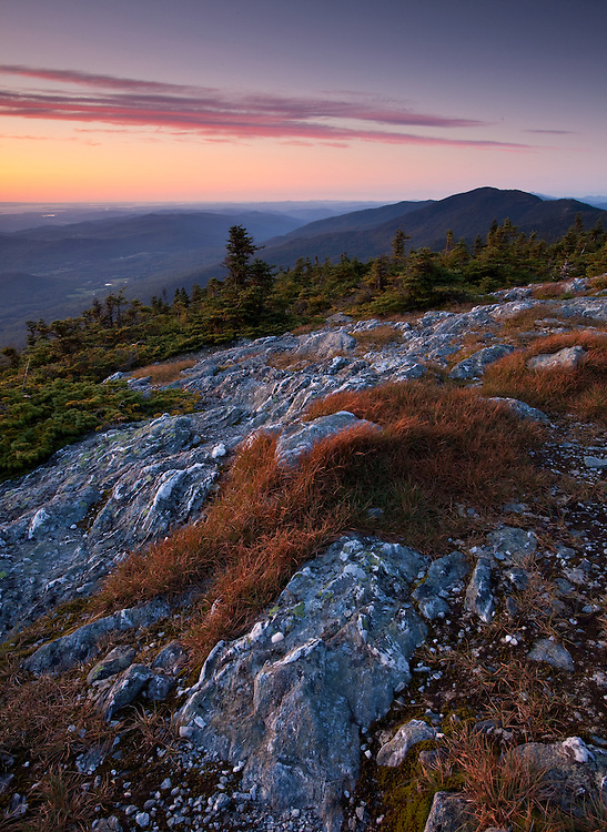 Sunset light on the summit of Mount Abraham, part of the Vermont Long Trail
