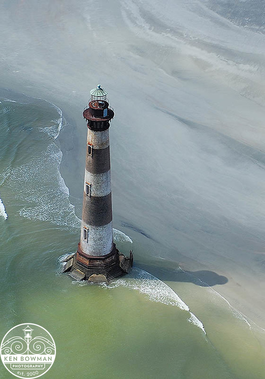 Aerial photograph of Morris Island Lighthouse.