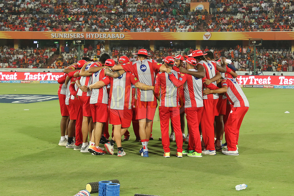 Kings Xi Punjab practise sessions during match twenty five of the Vivo Indian Premier League 2018 (IPL 2018) between the Sunrisers Hyderabad and the Kings XI Punjab  held at the Rajiv Gandhi International Cricket Stadium in Hyderabad on the 26th April 2018.<br /> <br /> Photo by Saikat Das /SPORTZPICS for BCCI