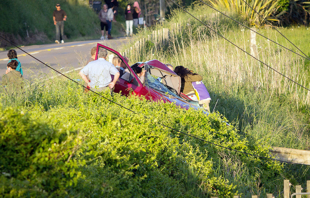 A passenger is in a serious condition after the car they were in hit a lamp post in Welcome Bay,, Tauranga, New Zealand, Thursday, November 05, 2015. Credit:SNPA / Cameron Avery