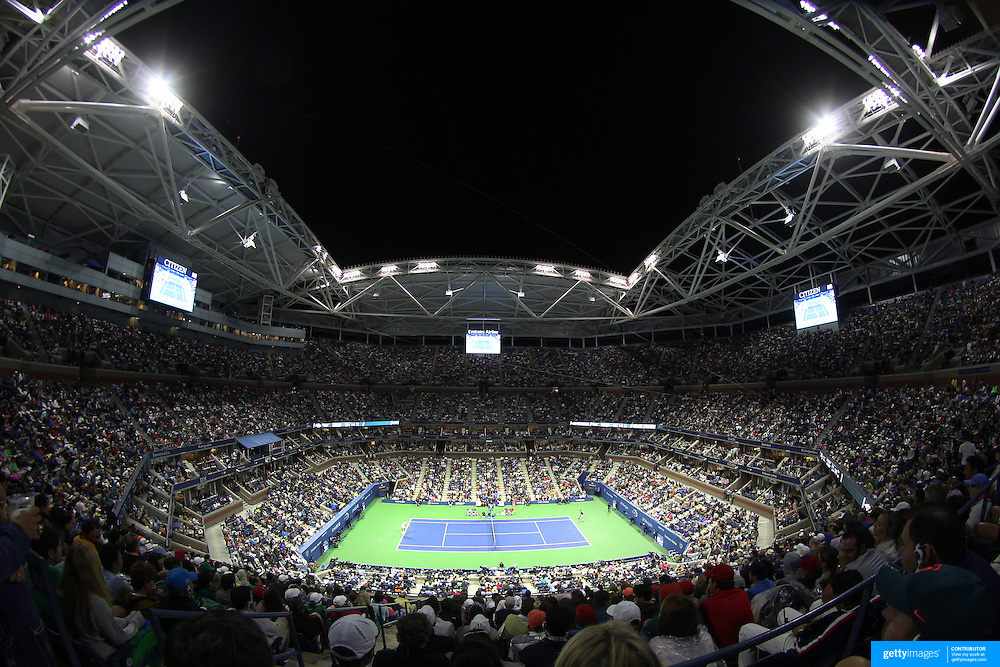 A panoramic view of Arthur Ashe Stadium as Novak Djokovic, Serbia, defeats Roger Federer, Switzerland, in the Men's Singles Final during the US Open Tennis Tournament, Flushing, New York, USA. 13th September 2015. Photo Tim Clayton
