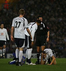 PORTSMOUTH, ENGLAND - MONDAY, JANUARY 1st, 2007: Calum Davenport on the floor of Spurs against Portsmouth during the Premiership match at Fratton Park. (Pic by Chris Ratcliffe/Propaganda)