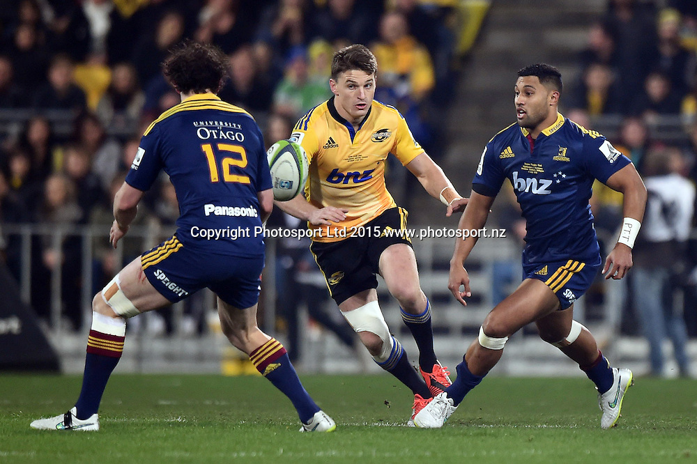 Beauden Barrett of the Hurricanes during the Super Rugby Final match between the Hurricanes and Highlanders at Westpac Stadium, Wellington, New Zealand. 4 July 2015. Copyright Photo: Andrew Cornaga / www.Photosport.nz