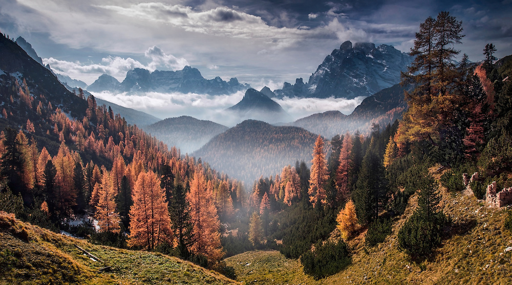 Dolomites, autumn, mountains, max rive, clouds, foggy, misty