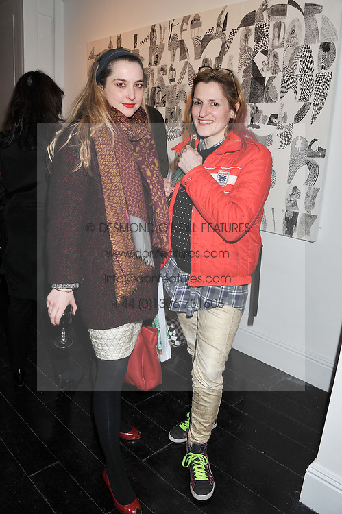 Left to right, DAISY DE VILLENEUVE and VALERIE PHILLIPS at a private view of art works by Annie Morris entitled 'There is A Land Called Loss' held at Pertwee Anderson & Gold Gallery, 15 Bateman Street, London W1 on 2nd February 2012.