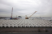 building for sea defense concrete tetrapods blocks Japan Yokosuka Tokyo bay