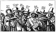 Gunpowder Plot, Roman Catholic conspiracy to blow up English Houses of Parliament on 5 November 1605 when James I was due to open a new session.  Guy Fawkes, best known of the conspirators, is third from right. From print published Frankfurt 1605.