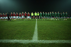 The beginning of UEFA Friendly match between national teams of Slovenia and Denmark at the Stadium on February 6, 2008 in Nova Gorica, Slovenia. Slovenia (in green, right) lost 2:1. (Photo by Vid Ponikvar / Sportal Images).