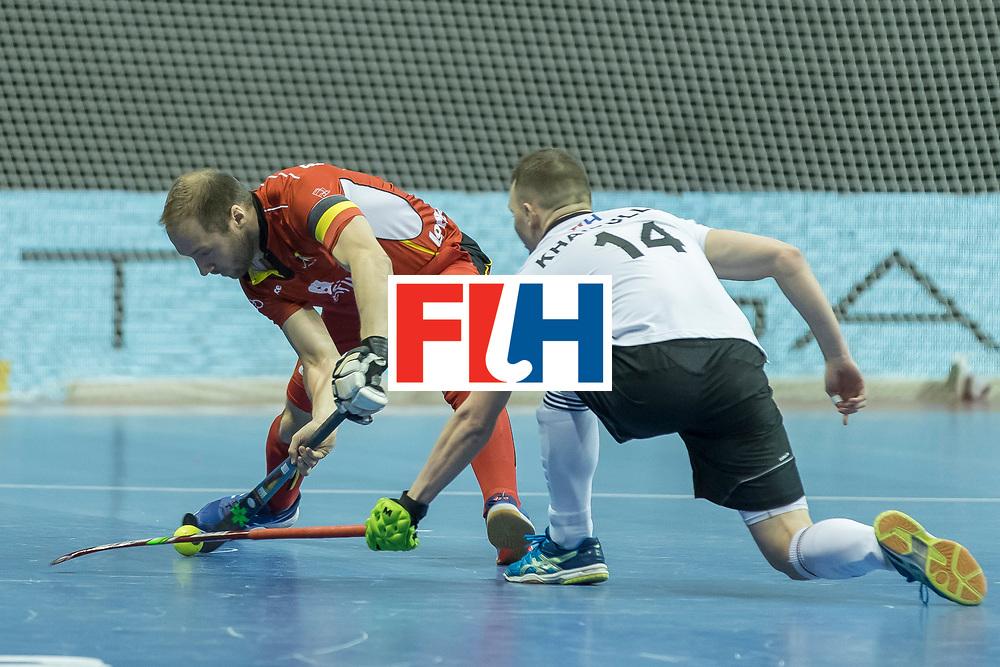Hockey, Seizoen 2017-2018, 08-02-2018, Berlijn,  Max-Schmelling Halle, WK Zaalhockey 2018 MEN, Belgium - Russia 4-5, PANGRAZIO Renaud (C) (BEL) and KHAIRULLIN Marat (RUS). Worldsportpics copyright Willem Vernes