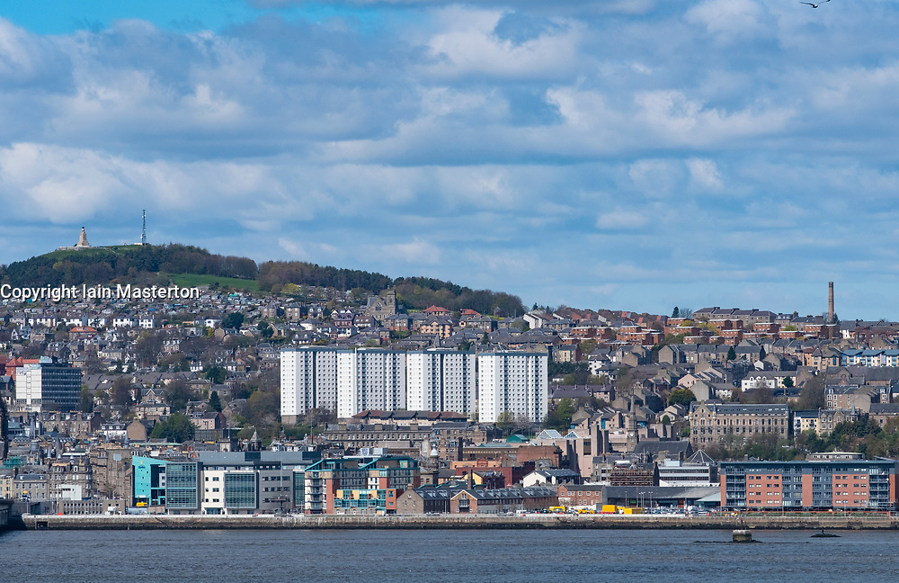 View over River Tay to city of Dundee in Tayside, Scotland, UK.