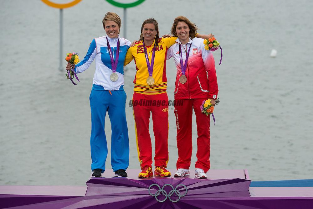 2012 Olympic Games London / Weymouth<br /> RSX Medal Ceremonies<br /> Petaja Tuuli, (FIN, RS:X Women)<br /> Alabau Marina, (ESP, RS:X Women)<br /> Noceti-Klepacka Zofia, (POL, RS:X Women)