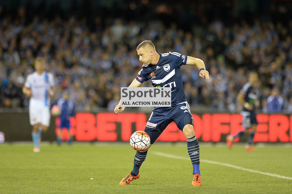 "Besart Berisha of Melbourne Victory - Hyundai A-League - October 17th 2015 - ROUND 2- Melbourne Victory FC v Melbourne City FC in the first derby for the 2015 season with a 3:2 win to Victory on the 90"" - © Mark Avellino 