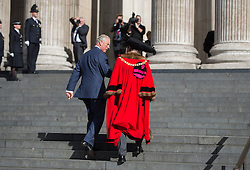 The Lord Mayor of London Jeffrey Mountevans greets the Prince of Wales before they attend a service to commemorate National Police Memorial Day at St Paul's Cathedral in central London.