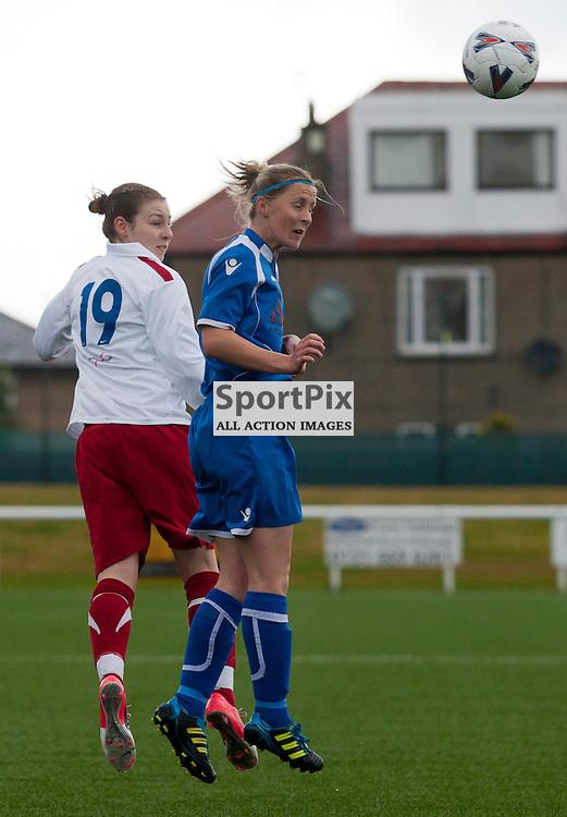 Sarah Ewens (Spartans) and Alana Bruce (Forfar). SPARTANS v FORFAR FARMINGTON Scottish Women's Premier League 14 October 2012 (c) Russell Sneddon | StockPix.eu