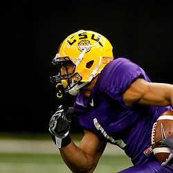 January 5, 2012; New Orleans, LA, USA; LSU Tigers safety Eric Reid (1) during practice for the 2012 BCS National Championship game to be played on January 9, 2012 against the Alabama Crimson Tide at the Mercedes-Benz Superdome.  Mandatory Credit: Derick E. Hingle-US PRESSWIRE