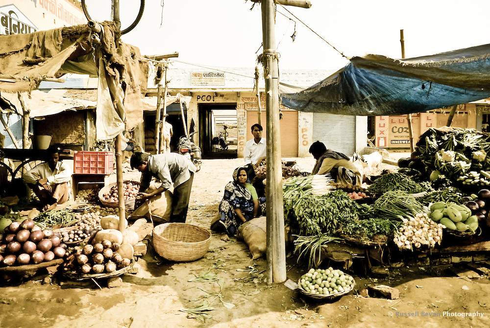 Roadside market stalls outside Varanasi, Uttar Pradesh, India