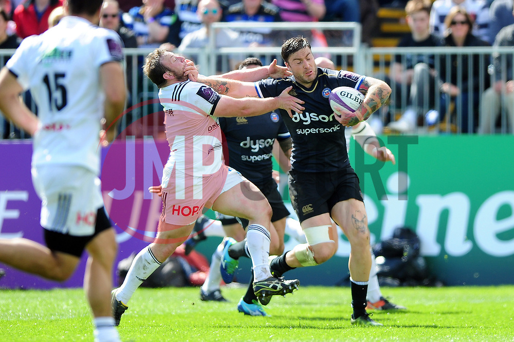 Matt Banahan of Bath Rugby takes on the Brive defence - Mandatory byline: Patrick Khachfe/JMP - 07966 386802 - 01/04/2017 - RUGBY UNION - The Recreation Ground - Bath, England - Bath Rugby v CA Brive - European Rugby Challenge Cup.