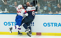 Kristian Forsberg of Norway vs Michal Sersen of Slovakia  during Ice Hockey match between Slovakia and Norway at Day 6 in Group B of 2015 IIHF World Championship, on May 6, 2015 in CEZ Arena, Ostrava, Czech Republic. Photo by Vid Ponikvar / Sportida