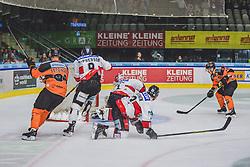 23.09.2018, Merkur Eisstadion, Graz, AUT, EBEL, Moser Medical Graz 99ers vs HC Orli Znojmo, 4. Runde, im Bild v.l.: Oliver Setzinger (Moser Medical Graz 99ers), Allan McOherson (HC Orli Znojmo), Tomas Halasz (HC Orli Znojmo), Patrik Parkkonen (HC Orli Znojmo), Ken Ograjensek (Moser Medical Graz 99ers) // during the 4th round for the Erste Bank Icehockey league between Moser Medical Graz 99ers and HC Orli Znojmo at the Merkur Eisstadion in Graz, Austria on 2018/09/23. EXPA Pictures © 2018, PhotoCredit: EXPA/ Dominik Angerer