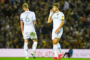 Leeds United defender Gaetano Berardi (28) and Leeds United defender Liam Cooper (6) during the EFL Sky Bet Championship match between Leeds United and Brentford at Elland Road, Leeds, England on 21 August 2019.