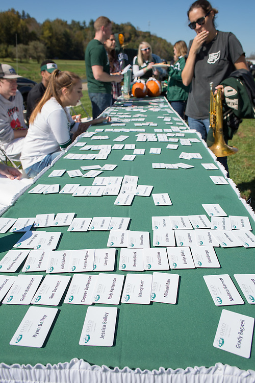 Nametags were handed out to Ohio University College of Business alumni at the College of Business Tailgating event before the Homecoming football game on October 10, 2015 at Ohio University's Tailgreat Park. Photo by Emily Matthews
