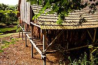 Estufa para secagem de folhas de fumo. Bom Jesus do Oeste, Santa Catarina, Brasil. / <br /> Air cured tobacco hung in a bar to dry.  Bom Jesus do Oeste, Santa Catarina, Brazil.