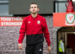 NEWPORT, WALES - Tuesday, October 16, 2018: Wales' Rhys Norrington-Davies arrives ahead of the UEFA Under-21 Championship Italy 2019 Qualifying Group B match between Wales and Switzerland at Rodney Parade. (Pic by Laura Malkin/Propaganda)