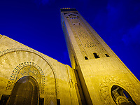 CASABLANCA, MOROCCO - CIRCA APRIL 2018: Exterior of the mosque  Hassan II in Casablanca at night.