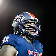 David Mims #68 of the Boston Brawlers walks to the sideline after a play during the first ever Boston Brawlers home game at Harvard Stadium on October 24, 2014 in Boston, Massachusetts. (Photo by Elan Kawesch)