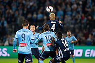 SYDNEY, AUSTRALIA - MAY 12: Melbourne Victory midfielder Keisuke Honda (4) goes up for the ball at the Elimination Final of the Hyundai A-League Final Series soccer between Sydney FC and Melbourne Victory on May 12, 2019 at Netstrata Jubilee Stadium in Sydney, Australia. (Photo by Speed Media/Icon Sportswire)