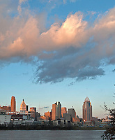 Cincinnati Skyline and low hanging clouds
