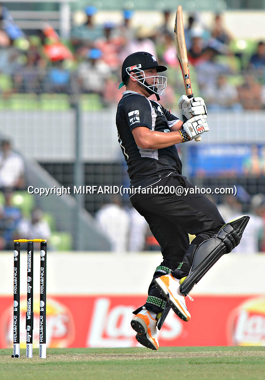 Jesse Ryder of New Zealand during the ICC Cricket World Cup quarter final match between South Africa and New Zealand held at the Shere Bangla National Stadium, Mirpur, Bangladesh on the 25 March 2011<br /> <br /> Photo by SPORTZPICS