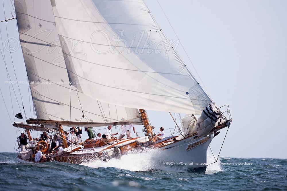 Ticonderoga sailing in the Museum of Yachting Classic Yacht Regatta.