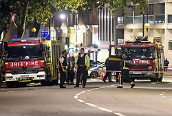 "© Licensed to London News Pictures. 23/09/2018. London, UK. Emergency services at the scene of a ""medical incident"" on Knightsbridge, West London. The surrounding area has been closed off. Photo credit: Ben Cawthra/LNP"
