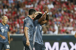 September 19, 2018 - Lisbon, Portugal - Renato Sanches of Bayern Munchen (R) after scoring his team's second goal during Champions League 2018/19 match between SL Benfica vs FC Bayern Munchen, in Lisbon, on September 19, 2018. (Credit Image: © Carlos Palma/NurPhoto/ZUMA Press)