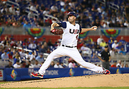 March 12, 2017 - Miami, FL, USA - United States pitcher Danny Duffy pitches during the first inning of a World Baseball Classic first round Pool C game against Canada on Sunday, March 12, 2017 at Marlins Park in Miami, Fla. (Credit Image: © David Santiago/TNS via ZUMA Wire)