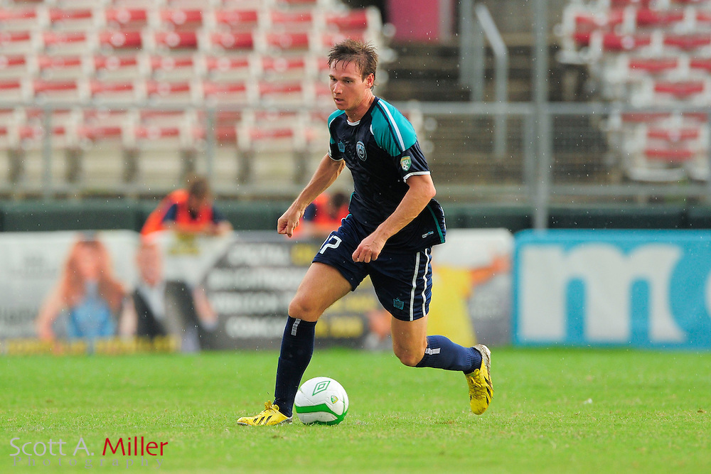 VSI Tampa Bay FC midfielder Joseph Noone (17) in action against the Phoenix FC Wolves in a USL Pro soccer match at Plant City stadium in Plant City, Florida on June 9, 2013.<br /> <br /> &copy;2013 Scott A. Miller