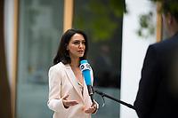 DEU, Deutschland, Germany, Berlin, 16.04.2018: Nazanin Boniadi, iranischstämmige Schauspielerin (Homeland) und Menschenrechtsaktivistin, bei einem Interview mit der Deutschen Welle in der Bundespressekonferenz.