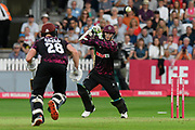 Eddie Byrom of Somerset plays an attacking shot during the Vitality T20 Blast South Group match between Somerset County Cricket Club and Middlesex County Cricket Club at the Cooper Associates County Ground, Taunton, United Kingdom on 30 August 2019.