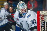 KELOWNA, BC - NOVEMBER 6:  Brock Gould #33 of the Victoria Royals defends the net after losing his stick against the Kelowna Rockets at Prospera Place on November 6, 2019 in Kelowna, Canada. (Photo by Marissa Baecker/Shoot the Breeze)