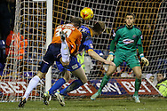 Luke Wilkinson of Luton Town fouls Mark Ellis of Shrewsbury Town in trying to get a shot on goal during the Sky Bet League 2 match at Kenilworth Road, Luton<br /> Picture by David Horn/Focus Images Ltd +44 7545 970036<br /> 08/01/2015
