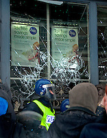 "Bank windows broken at protest against government cuts  ""March for the Alternative"" march 2011"