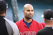 ANAHEIM, CA - JUNE 6:  Albert Pujols #5 of the Los Angeles Angels of Anaheim looks on during batting practice before the game against the Chicago White Sox at Angel Stadium on Friday, June 6, 2014 in Anaheim, California. The Angels won the game 8-4. (Photo by Paul Spinelli/MLB Photos via Getty Images) *** Local Caption *** Albert Pujols
