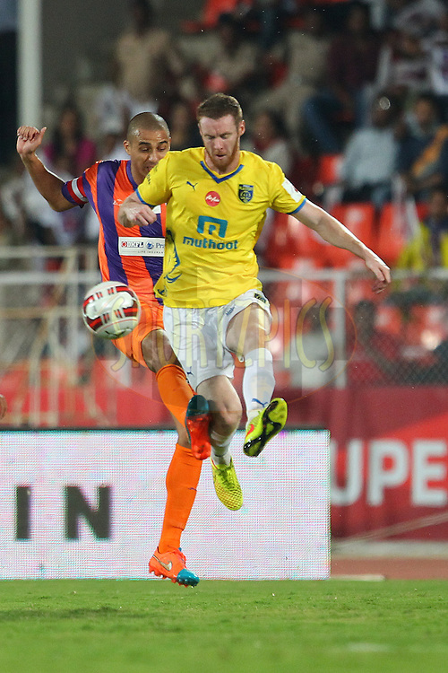 FC Pune City captain David Trezeguet and Stephen Pearson of Kerala Blasters FC during match 17 of the Hero Indian Super League between FC Pune City<br /> and Kerala Blasters FC held at the Shree Shiv Chhatrapati Sports Complex Stadium, Pune, India on the 30th October 2014.<br /> <br /> Photo by:  Ron Gaunt/ ISL/ SPORTZPICS